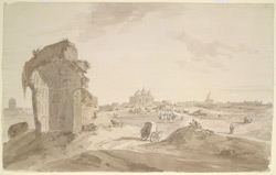 Near Scindia's camp, Mathura (U.P.), showing the mosque of Aurangzib built over the site of the temple marking Krishna's birthplace..  2 February 1789